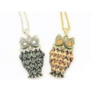 N003 Owl Pendant  Necklace Rhinestones Crystals