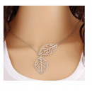 N098 Necklace Pendant TWO LEAVES leaves silver