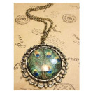 N009 Pendant  Necklace Crystal PEACOCK EYE Vintage