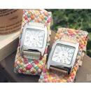 groothandel Sieraden & horloges: Ieke HORLOGE  armband gevlochten GENEVA RETRO 4K