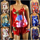 Großhandel Nachtwäsche:Schlafanzug Satin - MIX
