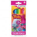 Set 12 Crayons de Couleur TROLLS