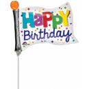 nagyker Parti kellékek: Happy Birthday Flag, Zászló Mini fólia lufi