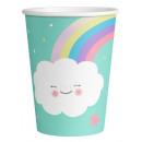 Rainbow & Cloud Paper Cup 8 pcs 250 ml