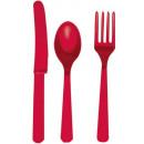 Großhandel Besteck: Besteck Kit - 24 Stück Apple Red
