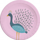 Peacock, Peacock Paper Plate with 8 pcs 23 cm