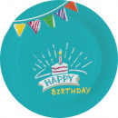 Happy Birthday Paper Plate with 8 pcs 18 cm
