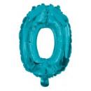 Mini 0-ás Blue szám Fólia lufi 10 cm