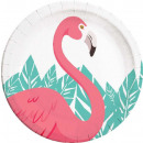 wholesale Figures & Sculptures: Flamingo, Flamingo Paper plate 8 pcs 23 cm