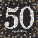 nagyker Parti kellékek: Happy Birthday 50 szalvéta 16 db-os 33*33 cm