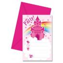 grossiste Cadeaux et papeterie: Invitation de  Rainbow Castle Party 6 pièces