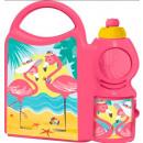 Großhandel Lunchboxen & Trinkflaschen: Sandwichbox + Flasche Flamingo, Flamingo