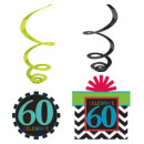 Happy Birthday 60 Ribbon decoration set of 12 piec