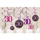 Happy Birthday 30 Ribbon Decoration 12 Pieces Set