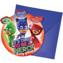 PJ Masks, Pizsihősök Party Invitation 6 pcs