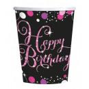 Großhandel Geschenkartikel & Papeterie: Happy Birthday Pappbecher mit 8 Stück 266 ml