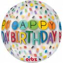 Happy Birthday Sphere Folienballons 40 cm