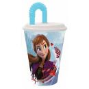 Disney Verre paille magique Ice, plastique 430 ml