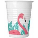 wholesale Figures & Sculptures: Flamingo, Flamingo Plastic cup 8 pieces 200 ml