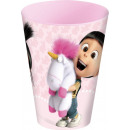 Minions , Agnes & Fluffy Unicorn glass, plasti
