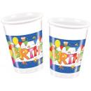 Happy Birthday plastic cups 10 stuks 200 ml