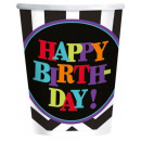 Happy Birthday paper cup with 8 pcs 266 ml