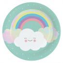 groothandel Stationery & Gifts: Rainbow & Cloud Papieren bord 8 stuks 23 cm