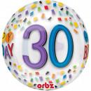 Happy Birthday 30 Sphere Foil Balloons 40 cm