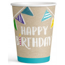 Happy Birthday paper cup of 8 pieces 250 ml