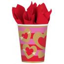 Heart, Heart Paper Cup 8 pcs 266 ml