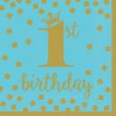 Großhandel Geschenkartikel & Papeterie: Erster Geburtstag Serviette 16 Stück 32,7 * 32,7 c