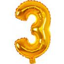 Großhandel Geschenkartikel & Papeterie: Mini 3 Gold Number Folienballons 31 cm