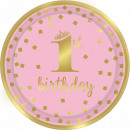 First birthday Dough plate 8 pcs 18 cm