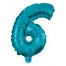Mini 6-os Blue szám Fólia lufi 10 cm