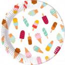 Eis, Eis Pappteller 8-teilig 23 cm