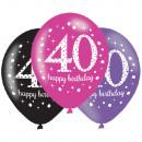 Happy Birthday 40 balloon with 6 balloons