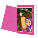 Masha and the Bear Party Invitation 6 pcs