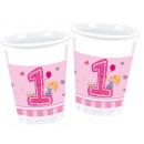 Primo compleanno tazze di plastica 8 pezzi da 200