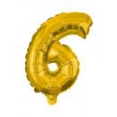 Óriás 6-os Gold szám Fólia lufi 85 cm