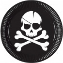 Pirates Black Skull, Pirate Paper Plate with 8 pie