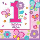 grossiste Articles de fête: serviettes premier  anniversaire 16 pièces
