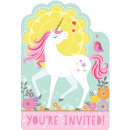 Unicorn, Unikornis Party Invitation with 8 pieces