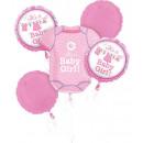 Baby Girl Folie Ballonnen Set met 5 stuks