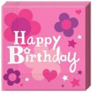 grossiste Cadeaux et papeterie: Happy Birthday  Fille Serviettes 20 pièces
