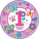 grossiste Articles de fête: Premier  anniversaire  plaque de papier 8 ...