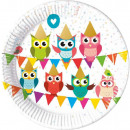 Owl, Owl Paper Drum 8 pcs 23 cm Metallic