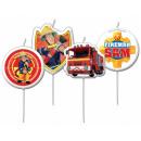 Großhandel Lizenzartikel: Fireman Sam, Sam  das Feuer Kuchen mit Kerzen, 4 St