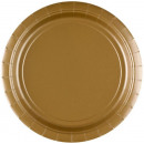 Großhandel Geschenkartikel & Papeterie: Pappteller 8 Stück 17,8 cm Gold