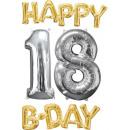 Happy Birthday 18 ballons en aluminium sertie de 4