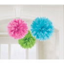 Hanging pom pom decoration Multicolour 3 pcs